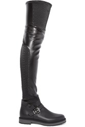 Fendi Ruffle Trimmed Quilted Stretch Leather Over The Knee Boots Black