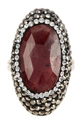 Savvy Cie Two Tone Red Sapphire Swiss Marcasite And Crystal Statement Ring Gray