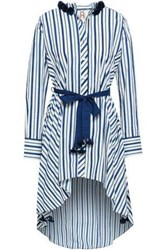Figue Woman Rayna Belted Printed Cotton Poplin Tunic Cobalt Blue