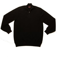 Plum Of London Half Zip Baby Alpaca Link Knit Black