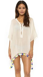 Bindya Fiesta Lace Up Cover Up White
