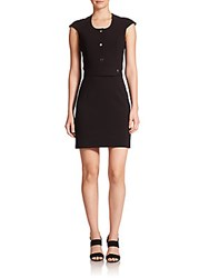Carven Crepe Button Front Dress Black