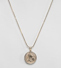Rock N Rose 'N' Gold Prayer Coin Pendant Necklace