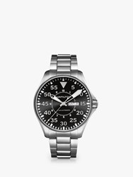 Hamilton H64715135 'S Khaki Aviation Day Date Automatic Bracelet Strap Watch Silver Black