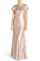 Candela 'Toulouse' Sequin Cowl Back Gown Metallic
