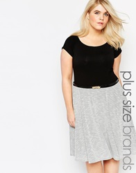 Club L Plus Size Bardot Skater Dress With Contrast Textured Skirt And Bow Belt Blackgrey