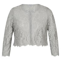 Chesca Scallop Trim Lace Jacket Grey