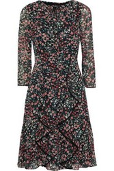 Mikael Aghal Woman Ruffled Floral Print Georgette Dress Black