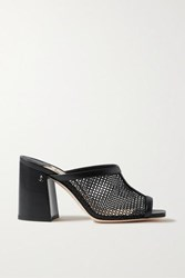 Jimmy Choo Joud 85 Mesh And Leather Mules Black