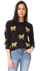 Chinti And Parker All Over Leopard Cashmere Sweater Navy Multi