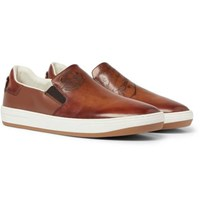Berluti Outline Leather Slip On Sneakers Tan