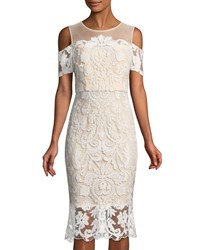 Jax Cold Shoulder Lace Illusion Dress Ivory