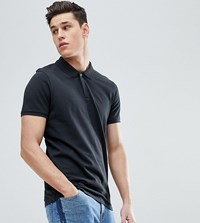 Selected Homme Tall Polo With Concealed Placket Black