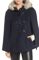 Eliza J Women's Toggle Cape With Faux Fur Navy