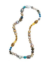 Stephen Dweck Multi Stone And Pearl Long Necklace