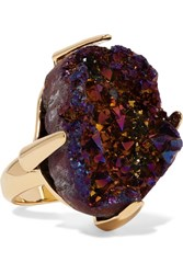 Christopher Kane Gold Tone Stone Ring Purple