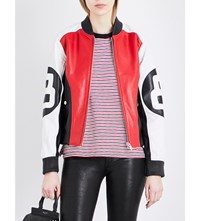 Rag And Bone Morgan Leather Bomber Jacket Red White