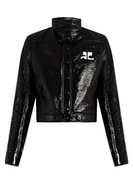 Courreges Stand Collar Faux Patent Leather Jacket Black