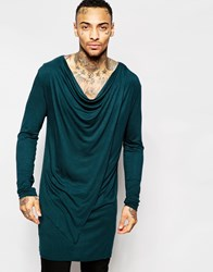 Asos Super Longline Long Sleeve T Shirt With Asymmetric Hem And Drape Neck Jetsetgreen