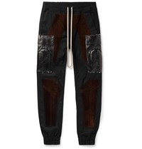 Rick Owens Slim Fit Tapered Suede Panelled Tech Canvas Cargo Trousers Black