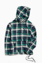 Urban Outfitters Uo Woven Plaid Hooded Pop Over Shirt Blue Multi