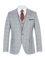 Gibson Men's Grey Jacket With Purple Over Check Grey