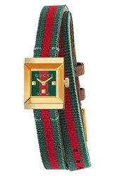 Gucci Women's G Frame Square Nylon Wrap Strap Watch 14Mm X 18Mm Green Red Gold