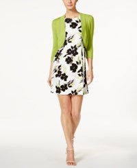 Jessica Howard Petite Printed Fit And Flare Dress And Shrug Green