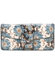 Dries Van Noten Snake Effect Clutch Women Leather One Size Blue