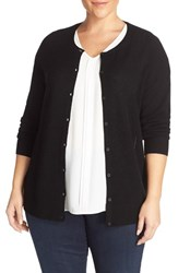 Sejour Plus Size Women's Crewneck Wool And Cashmere Cardigan