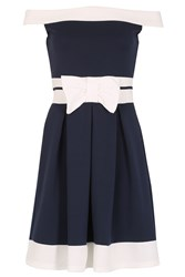 Izabel London Nautical Off The Shoulder Dress With Bow Navy