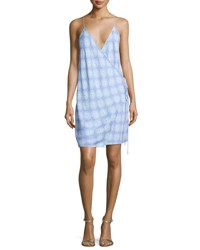 Diane Von Furstenberg Printed Tie Side Slip Dress Blue
