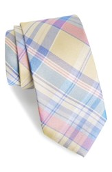 Southern Tide Del Rio Plaid Silk Tie Yellow