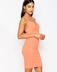 Wow Couture V Neck Bandage Mini Dress Salmon Pink