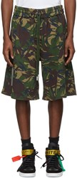 Off White Multicolor Oversized Camouflage Diagonal Shorts
