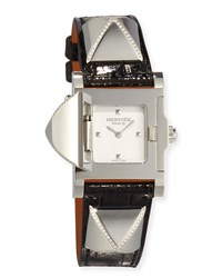 Hermes Medor Stainless Steel Watch With Diamonds