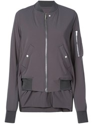 Rick Owens High Low Hem Bomber Jacket Grey