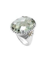 Silver Green Amethyst Ring With 18K Gold Lagos