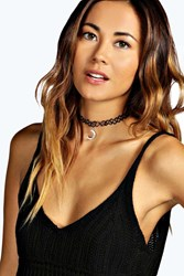 Boohoo Moon Stretchy Tattoo Choker Black