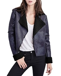 Velvet By Graham And Spencer Metallic Sherpa Coat Onyx