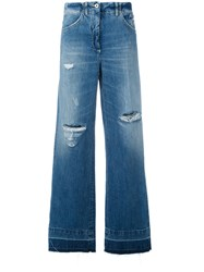 Dondup Distressed Wide Leg Jeans Blue