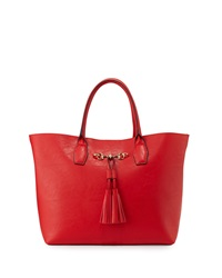 Neiman Marcus Poppy Tassel Faux Leather Tote Bag Red