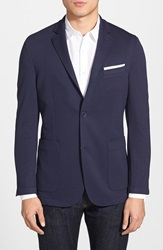 Vince Camuto Slim Fit Stretch Knit Blazer Navy Mesh