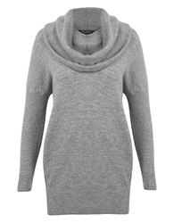 Miss Selfridge Oversized Cowlneck Knit Tunic Grey
