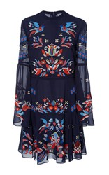 Tanya Taylor Cross Stitch Embroidered Izzy Dress Navy