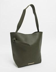 French Connection Mottled Leather Tote Bag Green