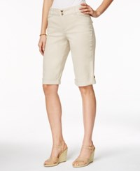 Charter Club Petite Roll Tab Cuffed Bermuda Shorts Only At Macy's Sand
