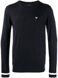 Emporio Armani Stripe Trim Jumper Blue