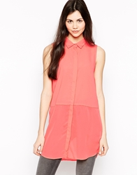 Only Sleeveless Shirt With Chiffon Overlay Sugarcoral