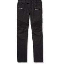 Balmain Slim Fit Stretch Denim Biker Jeans Black